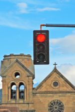 Photo of Stop Light and Church in Santa Fe, by Harry Griswold